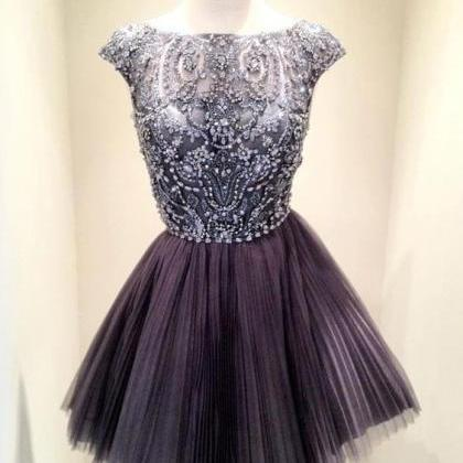 Short Dark Grey Bead Tulle Prom Dre..