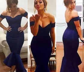 Custom Made Elegant Asymmetrical Dress Blue Prom Dress, Evening Dress, Formal Dresses