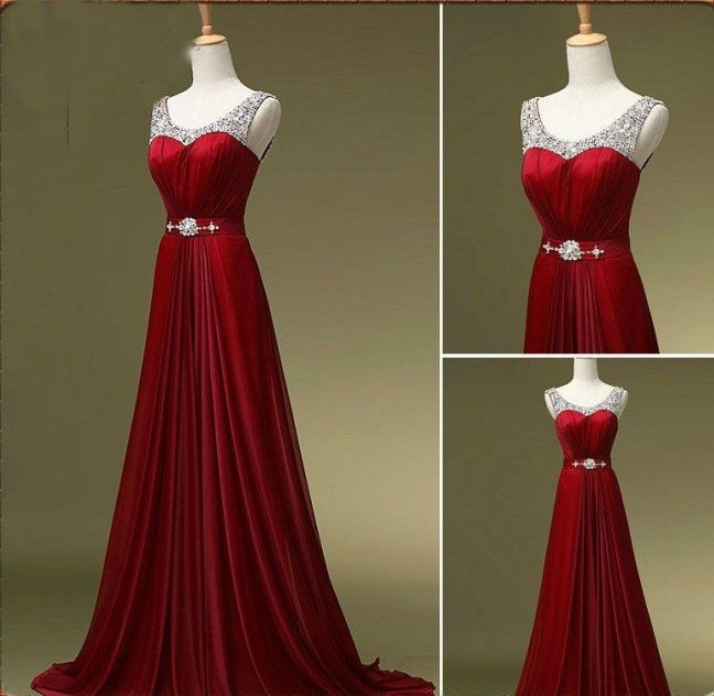 Luulla Custom Made A Line Dark Red Round Neck Long Prom Dresses, Bridesmaid Dresses, Formal Dresses, Evening Dresses, Dresses for Prom
