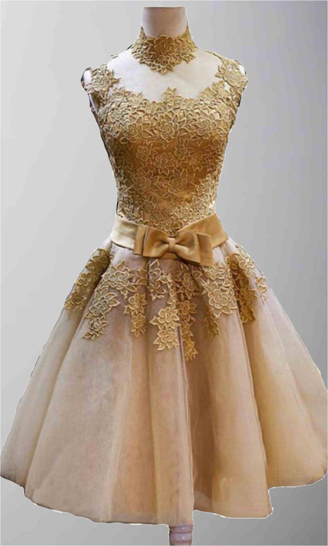 Custom Made Golden Vintage Princess High Neck Short Prom Dresses ...