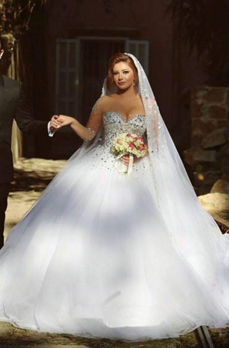said mhamad ball gown wedding dress vestidos de noiva sheer sleeves bridal gowns with crystals crystal wedding dresses Said Mhamad Ball Gown Wedding Dress Vestidos De Noiva Sheer Sleeves Bridal Gowns With Crystals on Luulla
