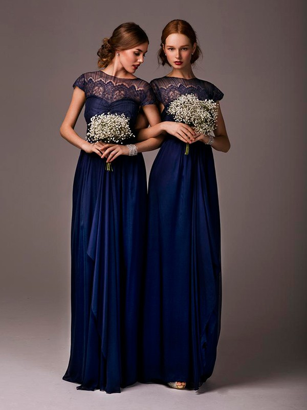 Navy Blue Bridesmaids Dresses With Sleeves : Sleeves navy blue bridesmaid dresses long bridesmaids dress wedding