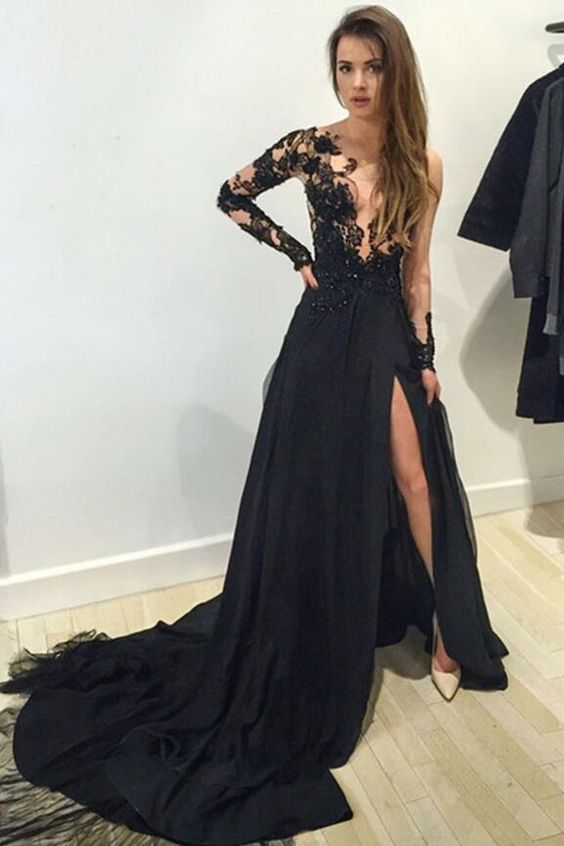Long Sleeve Prom Dress, Lace Prom Dress, Black Prom Dress, 2016 ...