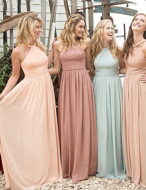 Long Bridesmaid Dress,Halter Bridesmaid Dress,Chiffon Bridesmaid Dress,Cheap Bridesmaid Dress, Popular Bridesmaid Dress