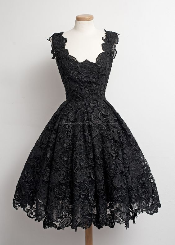 Vintage A-line Scalloped Edge Knee-Length 50s Lace Black Prom ...