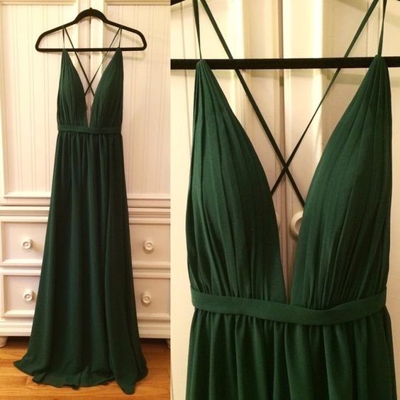 dark green backless prom dress sexy deep v neck prom