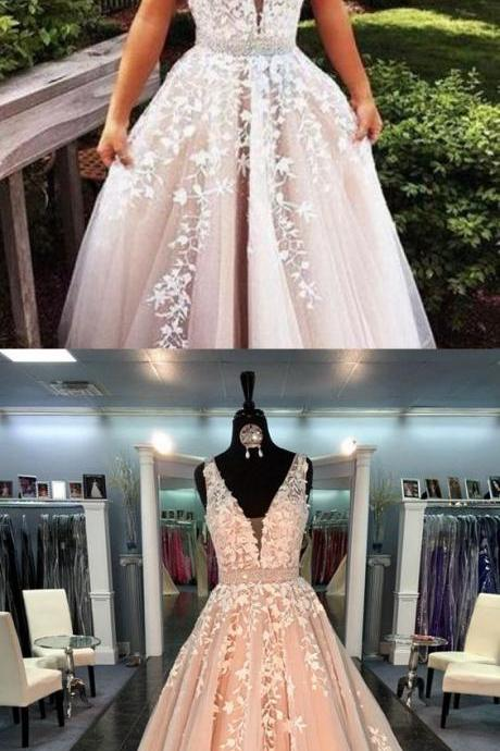 Champagne Prom Dresses,Lace Prom Dresses,Tulle Prom Dresses,Ball Gown Prom Gowns,Tulle Prom Gown,Prom Dress,Evening Gown For Teens