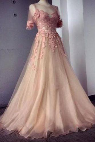 Appliques and Tulle Prom Dresses, Charming Evening Dresses, Floor-Length Prom Dresses, Half Sleeve Prom Dresses, Sexy Prom Dresses