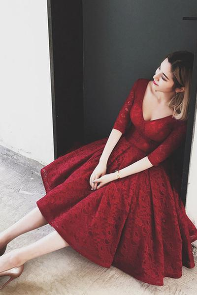 V Neck Half Sleeves Burgundy Lace Homecoming Dress, Short Prom Dress, Lace Short Evening Dress, Elagant Evening Dresses