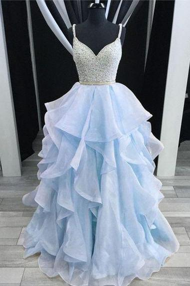 Sparkly Pretty Sky Blue Beading Ruffled Prom Dresses 2018, Ball Gown, Backless Prom Dresses for Teens