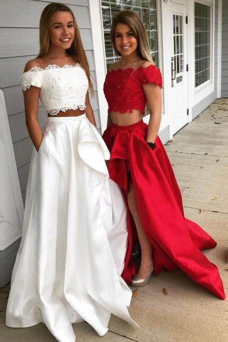 Off the Shoulder Lace Appliqued Two Piece Prom Dresses, White High Slit Party Dress