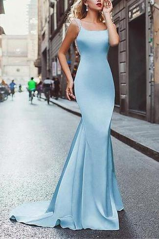 Amazing Satin Neckline Mermaid Tuxedo Prom Dress Woman's Evening Dresses