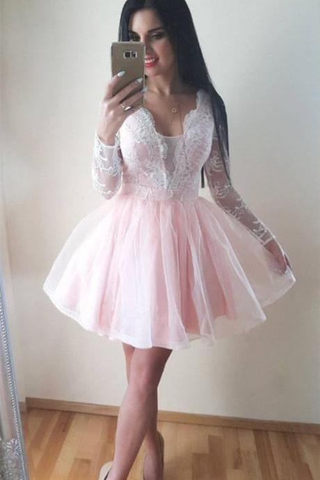 Long Sleeves Lace Sheer Pink Homecoming Dresses, Sexy V Neck Short Prom Dresses