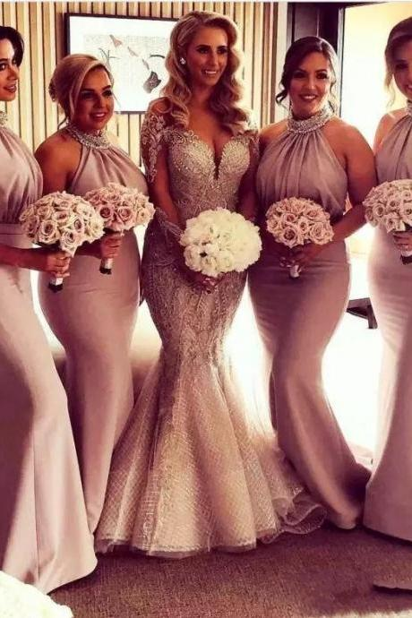 2018 Halter Maid Of Honor Dresses Country Mermaid Bridesmaid Dress