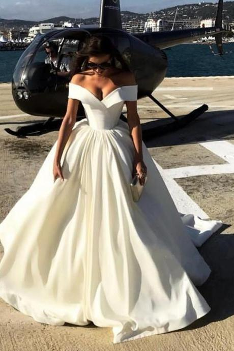 Sexy Deep V-neck Ball Gowns Satin Wedding Dresses Off The Shoulder Bridal Dresses