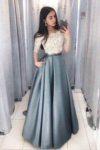 Unique Lace satin Two Pieces Long Prom Dress Lace Evening Dress