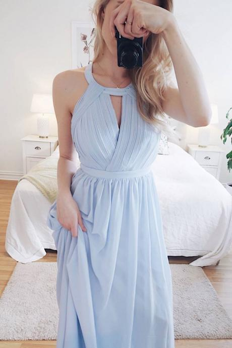 Simple Round Neck Blue Chiffon Long Prom Dress, Blue Evening Dress