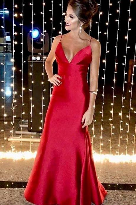 Elegant V Neck Straps Red Mermaid Long Prom Dress for Weddings and Evening Events