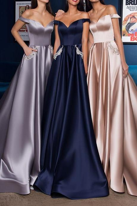 Sexy Off the Shoulder Navy Blue Satin Long Prom Dress with Pockets Champagne Evening Dress