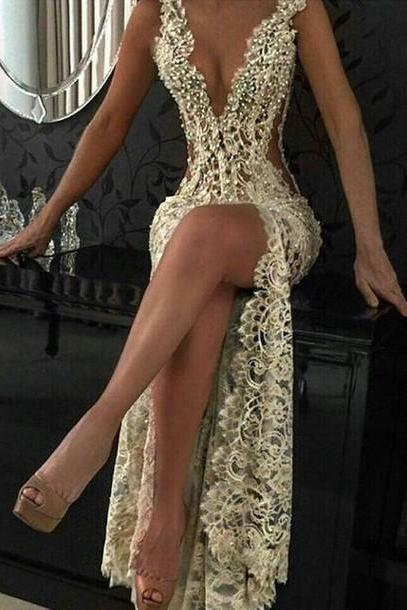 Sexy See Through Backless Prom Dress, Custom Charming Beading Lace Prom Dress,Sexy Deep V-Neck Evening Dress