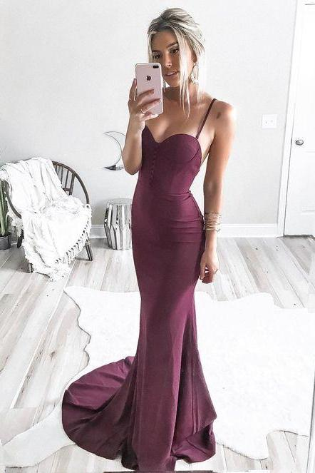 Sexy Spaghetti Straps Simple Purple Spandax Mermaid Prom Party Dress Woman Dress
