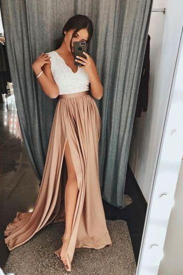Champagne and White Lace A-Line V-Neck Long Prom Dress with Split