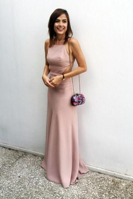 High Fashion Sheath Halter Backless Long Prom Dress Pink Party Gown