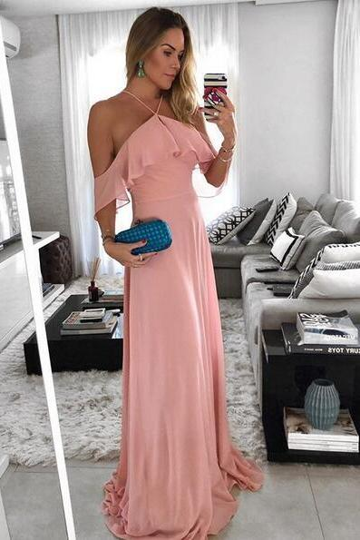 Off the Shoulder Halter Ruffled Long Prom Dress Chiffon Party Dress