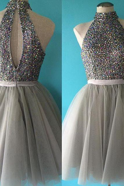 Luxurious Beaded A-line High Neck Sliver Tulle Short Homecoming Dress with Keyhole Back