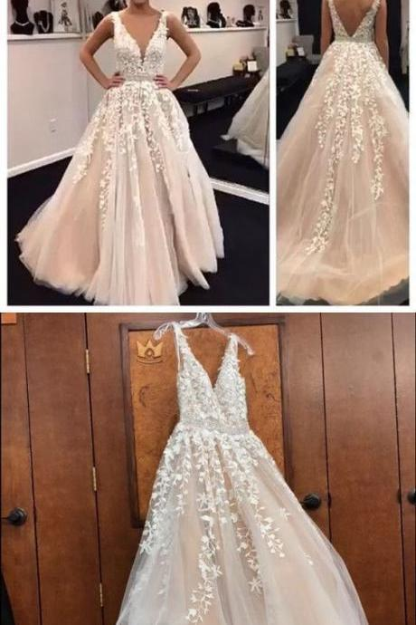 Sexy A-Line Lace Appliques Long Tulle Prom Dresses,Cheap Prom Dresses