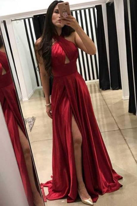 Sexy Split A-Line Dark Red Prom Dress with Cross Neck Floor-Length Evening Dress