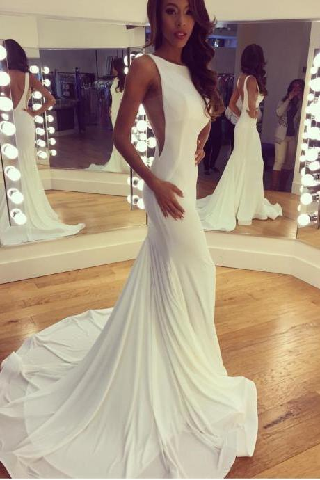 Beautiful Bateau Neck White Spandex Long Mermaid Prom Dress with Long Train