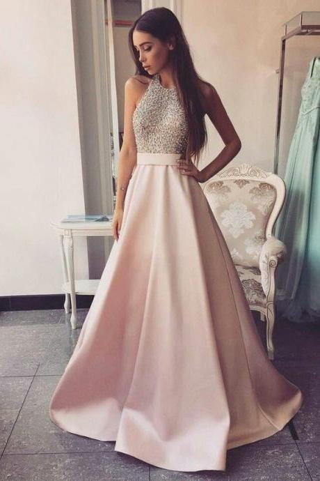 Modest High Neck Long A-line Pink Prom Dresses Beading Open Back Satin Prom Dresses Evening Dresses