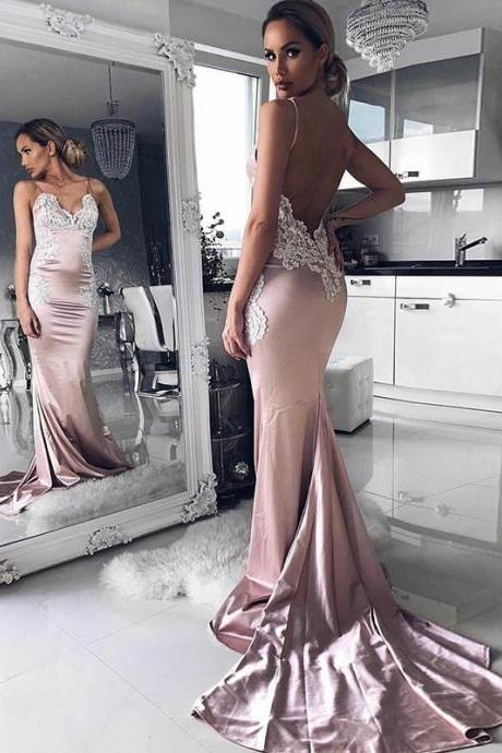 Sexy Spaghetti Straps Backless Long Pink Mermaid Prom Dress with Appliques
