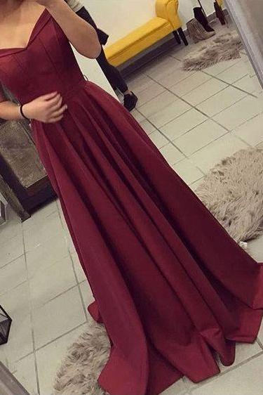 Elegant Off-the-Shoulder A-Line Sweep Train Burgundy Satin Prom Dress with Pleats