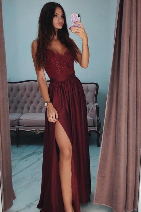 Spaghetti Straps A-Line Split Burgundy Long Prom Dress with Lace