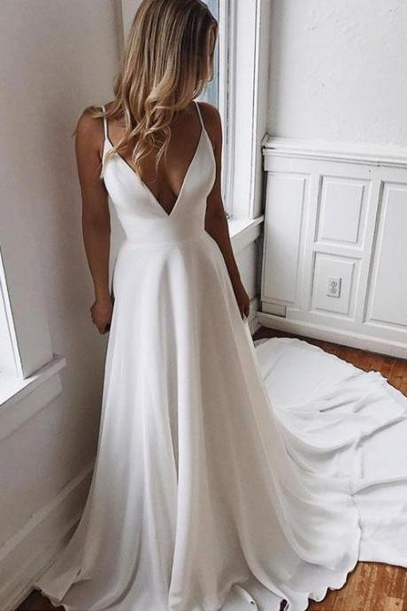 Sexy V Neck White Chiffon Lace Beading Long Prom Dress, Long Evening Dress