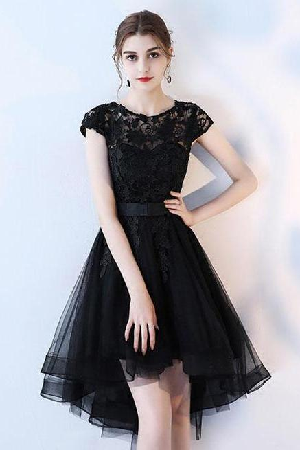 Modest Cap Sleeves Black Tulle Lace Prom Dress, Black Short Lace Homecoming Dress, Short Dress for Prom
