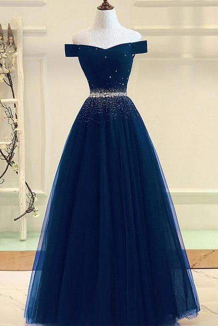 Gorgeous Blue Tulle Bading Prom Dress, Off Shoulder Evening Dress for Prom