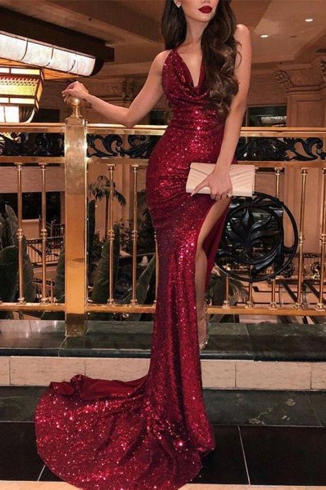 Gorgeous Mermaid Sleeveless V-neck Sweep Train Burgundy Sequins Prom Evening Dresses