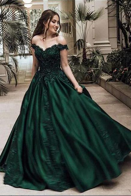 Stunning Ball Gown Off-the-Shoulder Sleeveless Floor-Length Lace Satin Senior Prom Dresses