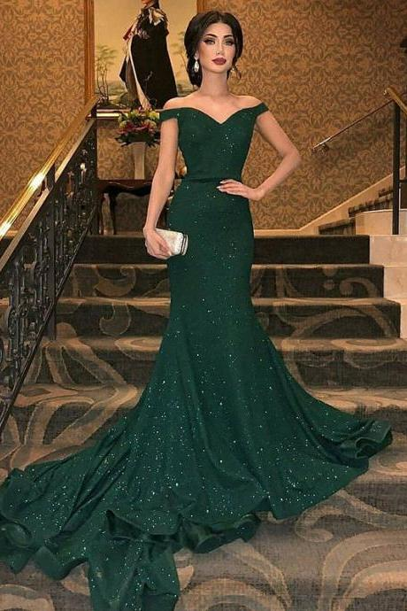 Amazing Off-the-Shoulder Dark Green Sequined Trumpet Sleeveless Prom Dresses, Woman's Evening Dress