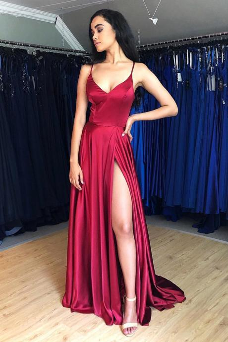 Simple Burgundy Long Formal Evening Dress with Slit