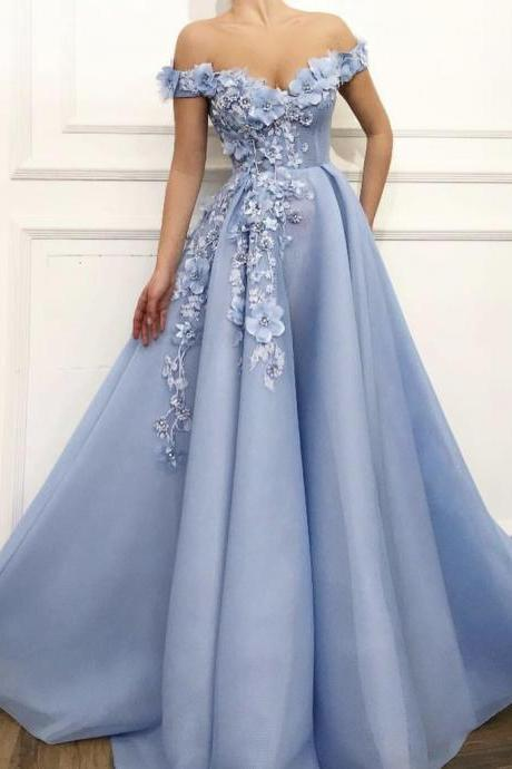Charming 3D Floral Baby Blue Off the Shoulder Ball Gown Prom Dresses Formal Evening Dress Special Occasions