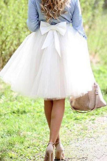 Fashion Skirt,Tulle Skirt,Charming Women Skirt,Skirt with Bow,Spring Skirt