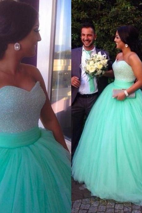 High Quality Prom Dress,Sexy Prom Dress,Sweetheart Ball Gown Prom Dress,Minit Blue Tulle Prom Dress,Beading Prom Dresses