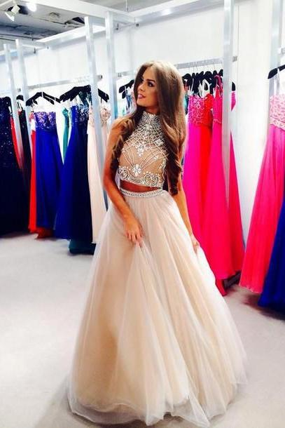 2017 Beads and Sequins 2 Piece Prom Dresses, O-Neck Prom Dresses, Real Made Prom Dresses,Two Pieces Prom Dresses On Sale