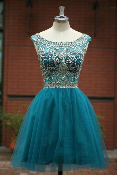 Elegant Sleeveless tulle Short Prom Dress 2015, party Dress,evening dress 2015 cocktail dress homecoming dress