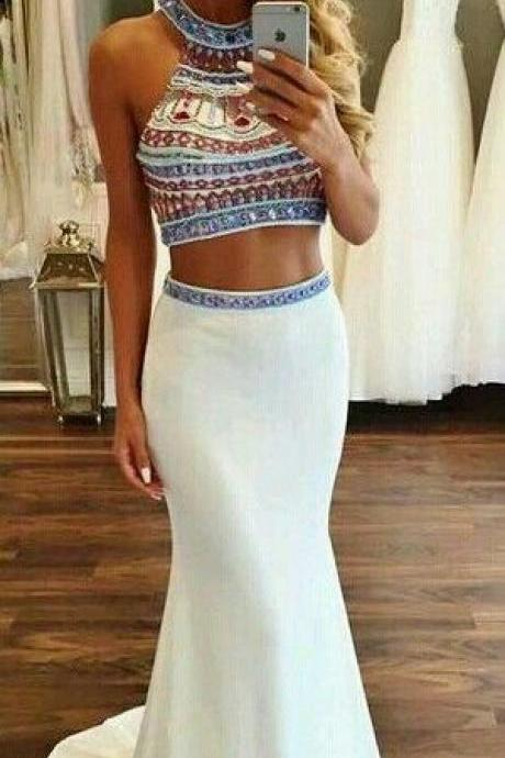 Beaded Prom Dresses,Beading Prom Dress,White Prom Gown,2 Pieces Prom Gowns,Elegant Evening Dress,Two Piece Evening Gowns,2 Pieces Evening Gowns,Mermaid Prom Dress