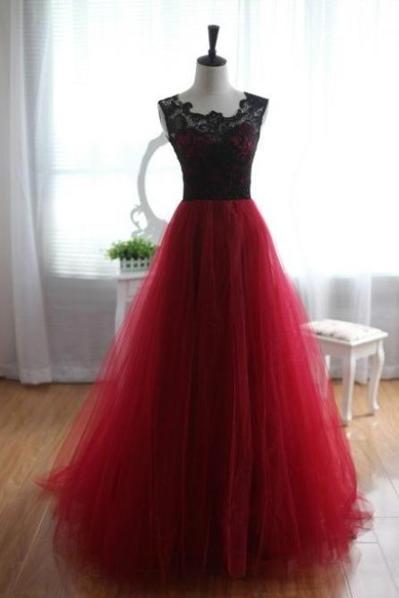 Pretty Handmade Tulle and Lace Burgundy Prom Dresses 2016, Burgundy Prom Dresses, Lace Prom Gown, Formal Dresses